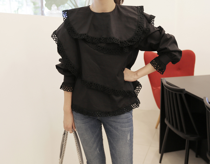 29504 - Punching lace blouse (2color)