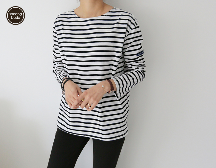 30215 - [SECOND BASIC] Double-sided Stripe tee (3color)