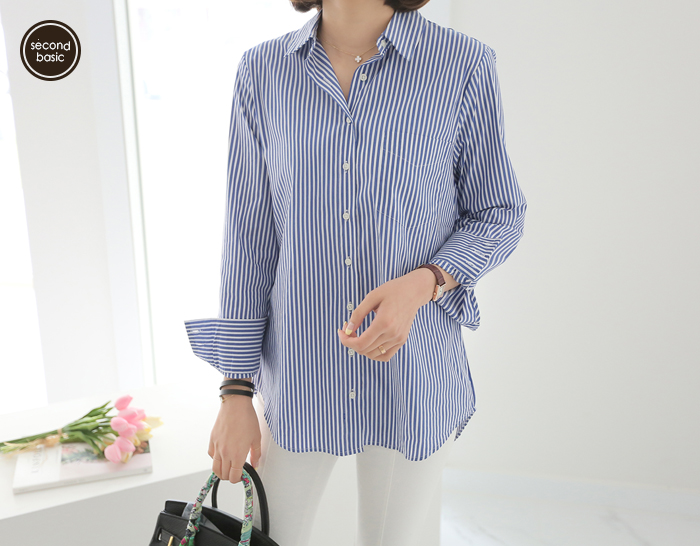 30233 - [SECOND BASIC] Kitsune Stripe Shirt (2color)