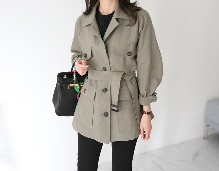 30275 - Linen Belt Jacket (2color)