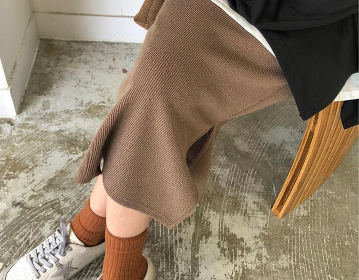 30818 - Corrugated Knit Skirt (5color)