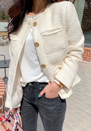 31183 - Creamy Tweed Jacket (2color)