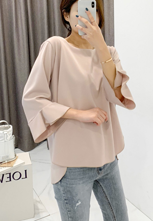 31200 - Ruffled Unbalanced Blouse (3color)