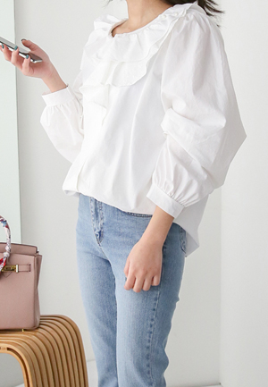 31221 - Ruffled Cotton Blouse (2color)